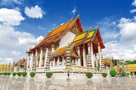Wat Suthat Thep Wararam is a Buddhist temple. Temple at twilight in Bangkok, Thailand