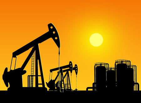 silhouette of working oil pumps on sunset background Illustration