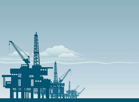 Oil derrick in sea for industrial design. Illustration