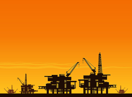 natural gas production: Oil derrick in sea for industrial design. Illustration
