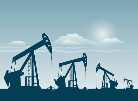 silhouette of working oil pumps , oil industry equipment Vektorové ilustrace