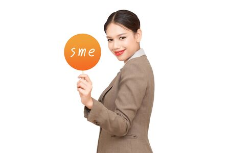 Businessgirl holding contact card with SME message