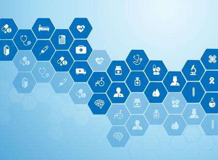 Antecedentes médicos e iconos para tratar pacientes.