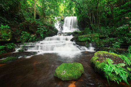 Man dang waterfall in Phu hin rong kra national park,Phitsanulok province,Thailand,defocused for background