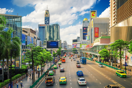 BANGKOK, THAILAND -15 July 2017- Bangkok City. Area in front Central World. Economic center of Bangkok Thailand