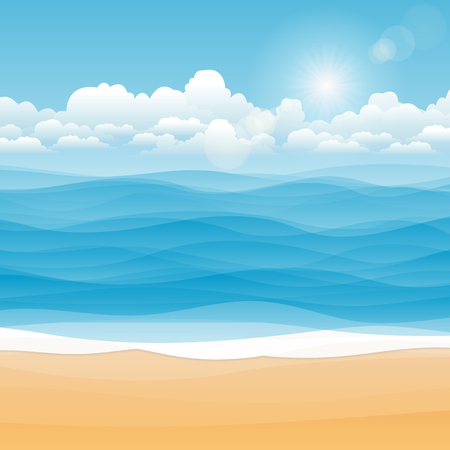 Tropical seascape,Illustration Summer beach on cloudy days. Иллюстрация