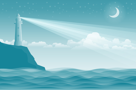 Seascape with lighthouse and waves. Marine vector illustration.