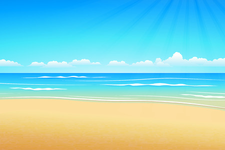 Tropical seascape,Illustration Summer beach on cloudy days.  イラスト・ベクター素材