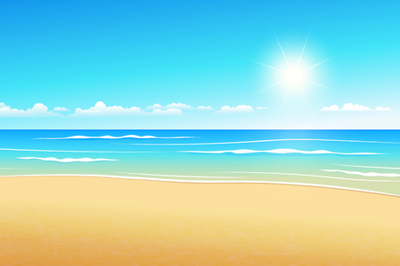Tropical landscape illustrates summer beach in the daytime. Illustration