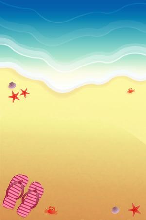 Arrière-plan pour la conception sur la plage, avec des pantoufles et des crabes de mer. Vecteurs