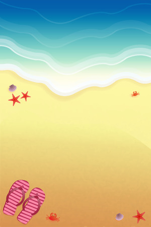 Background for design on the beach, with slippers and sea crabs. Ilustração Vetorial
