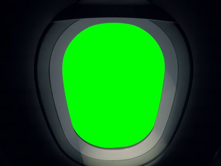 View from the window seat of a plane. Green background for editing background images Stock Photo