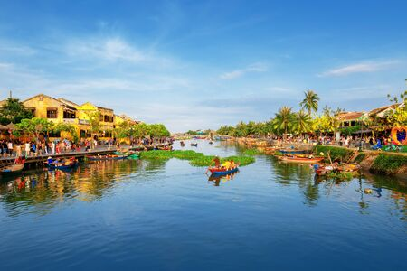 Hoi An, Vietnam: 9 May 2019 - The ancient city is a popular tourist destination. There is a walking market and a boat rental service to explore around.