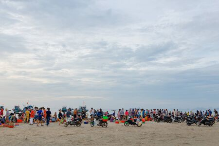 Danang, Vietnam: 10 May 2019 - Fish Market in the Morning Full of many people At the beach in Danang, Vietnam