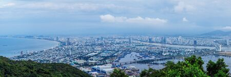 Danang, Vietnam: 11 May 2019 - Birds eye view from the top of the hill. See all Danang city in Vietnam. 新聞圖片