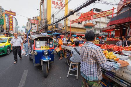 Bangkok - Thailand, 3 Aug 2019: Tuk-Tuk is the name of Thai traditional taxi.Chinatown is famous landmark in Bangkok. 新聞圖片