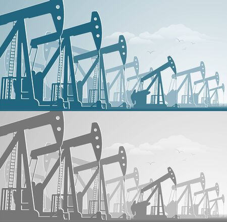 silhouette of working oil pumps , oil industry equipment