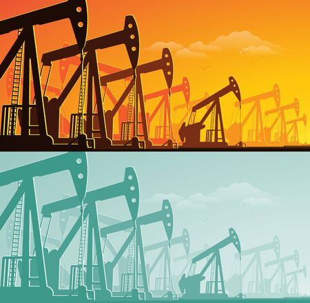 silhouette of working oil pumps on sunset background Ilustrace