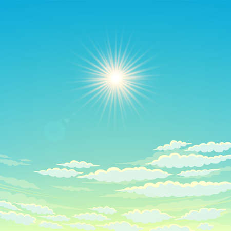 Sky, cloudy day And the sun shining. Vector Sky Background