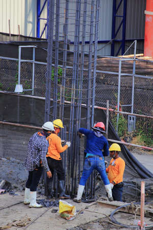 Bangkok - Thailand, 3 March 2020: Construction worker And working in the construction area of tall buildings