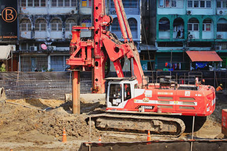 Bangkok-Thailand, 3 March 2020: Drilling Machinery In the area of high rise building construction