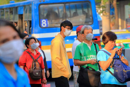 Bangkok - Thailand, 29 Feb 2020: People wearing medical masks to prevent germs. The virus makes people worried.