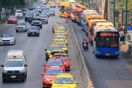 Bangkok - Thailand, 29 Feb 2020:Bangkok has a busy traffic. And many taxis Editorial