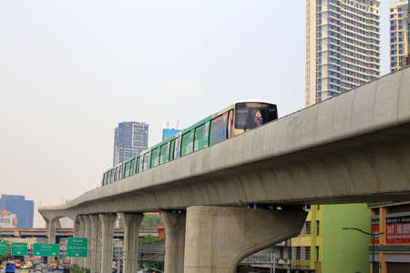 Bangkok - Thailand, 29 Feb 2020:  The Bangkok Mass Transit System, commonly known as the BTS or the Skytrain in Bangkok