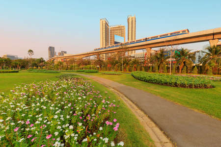 A park full of flowers With electric trains and buildings in the background