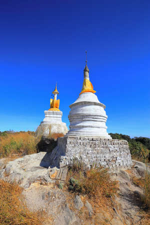 Pagoda in Myanmar, where people are Buddhists.