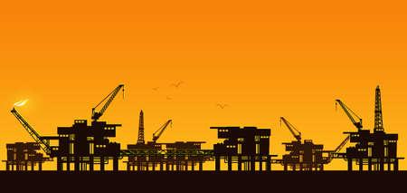 Oil derrick in sea for industrial design. Ilustracja
