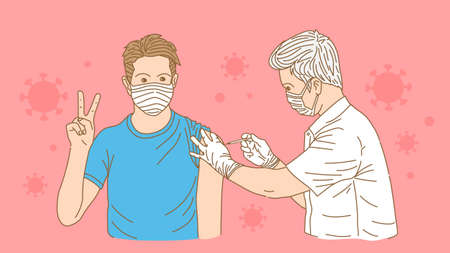 Vaccination to build immunity against covid-19 virus. Let people have confidence in safety. Ilustracja
