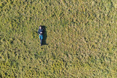 aerial portrait in a grassland Stock Photo