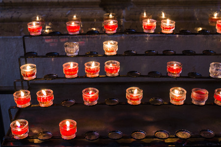 all saints day: candles in the church, passing and memorial concept, all saints day