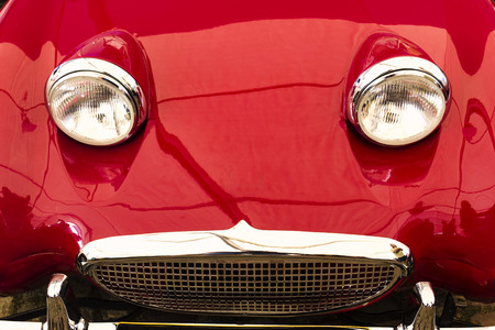 Vintage red sports car front bonnet headlights Stock Photo - 75002869