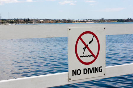 No Diving Signage in-front of Bay Waters