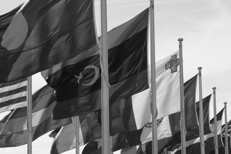 World Flags in the Wind. Black and white photograph. Taken in Canberra, Australia.