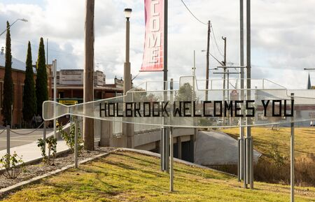 Holbrook, Australia - July 9th 2018: Welcome sign in the New South Wales town of Holbrook, Australia