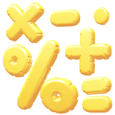 calculate: Calculate inflatable balloon 3D rendering Yellow