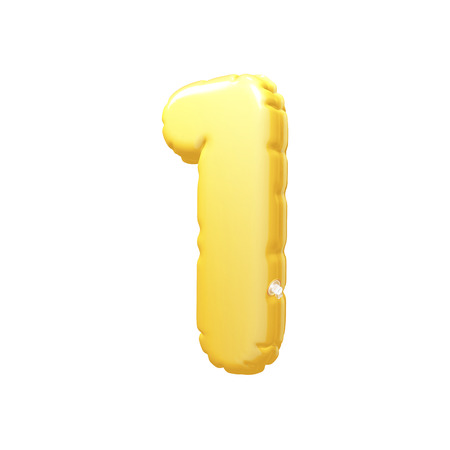 inflatable: number 1 inflatable balloon 3D rendering Yellow