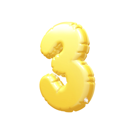 inflatable: number 3 inflatable balloon 3D rendering Yellow