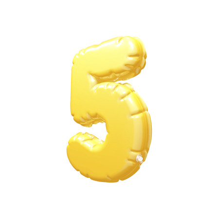 inflatable: number 5 inflatable balloon 3D rendering Yellow Stock Photo