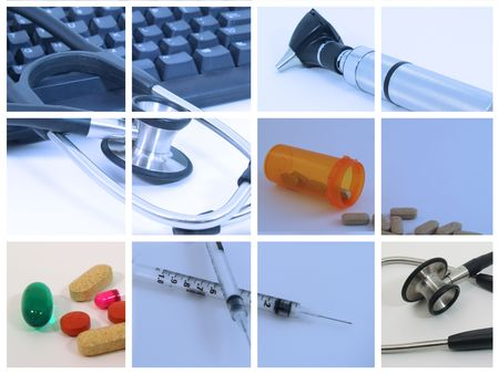 Collage of medical and healthcare devices used by medical professionals photo