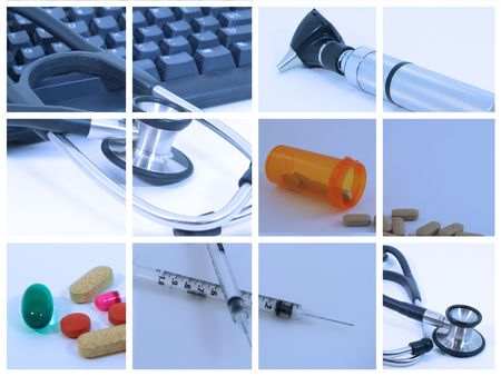 Collage of medical and healthcare devices used by medical professionals - Blue photo