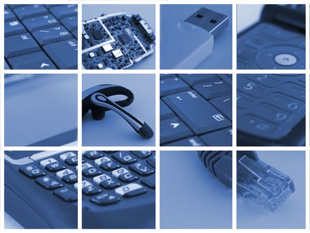 communication: collage of technological and communication devices used in business Stock Photo