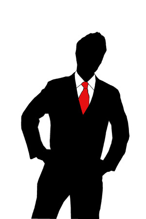 silhouette of a business man in a suit and red tie on white background