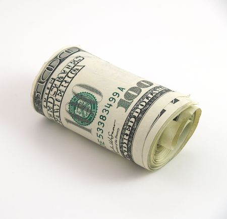 Roll of one hundred dollar bills Stock Photo