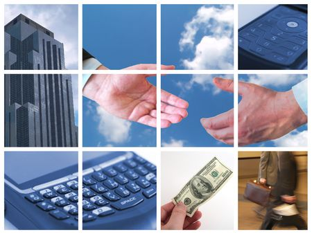 Collage of Business related themes Stock Photo
