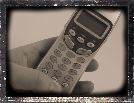 cordless phone: Cordless phone held in hand