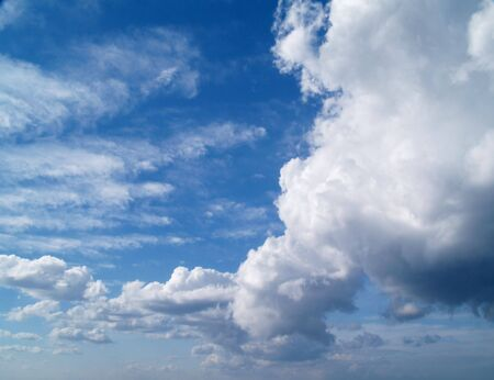 The sky with white clouds - Cumulus Stock Photo